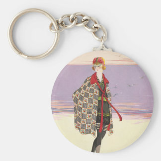 Vintage Advertising - Girl on Beach Keychain