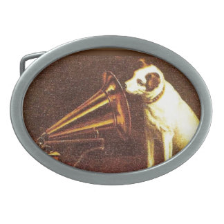 VIntage advertising, His master's Voice Oval Belt Buckles
