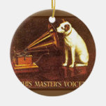 VIntage advertising, His master's Voice Double-Sided Ceramic Round Christmas Ornament