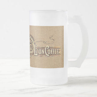 Vintage Advertising Lion Coffee Frosted Glass Beer Mug