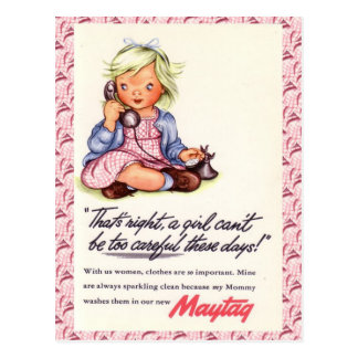Vintage advertising, Maytag, little girl telephone Postcard