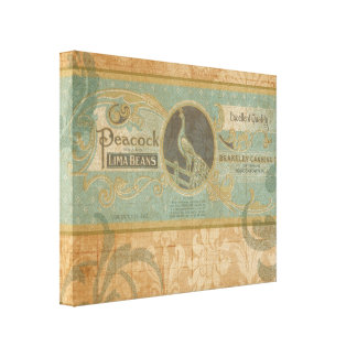 Vintage Advertising Peacock Canned Vegetables Gallery Wrap Canvas