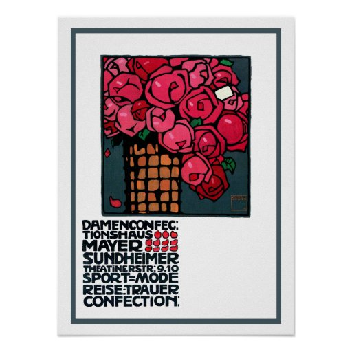 Vintage Advertising Poster: Roses -Ludwig Hohlwein Poster