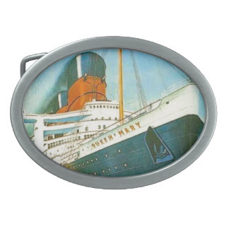 Vintage advertising, RMS Queen Mary Oval Belt Buckles