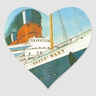 Vintage advertising, RMS Queen Mary Heart Sticker