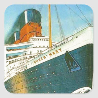 Vintage advertising, RMS Queen Mary Square Sticker