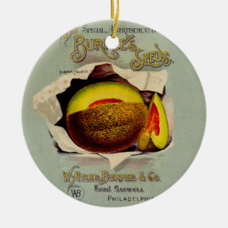 Vintage Advertising Victorian Cantaloupe Fruit Double-Sided Ceramic Round Christmas Ornament