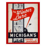 Vintage advertising, Winter lure of Michigans Poster