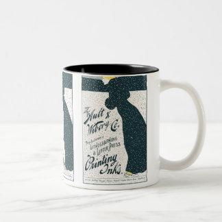 Vintage Advertising  - Woman Skating in Snow Storm Two-Tone Coffee Mug