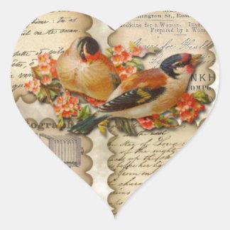 Vintage advertisting flowers scraps writing birds heart sticker