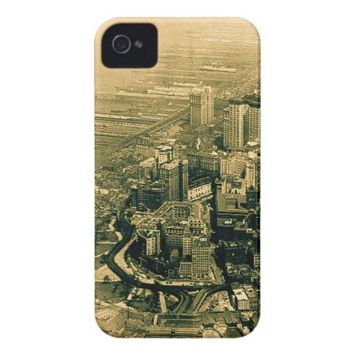 Vintage aéreo de la foto del Lower Manhattan Case-Mate iPhone 4 Cobertura