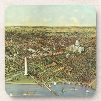 Vintage Aerial Antique City Map of Washington DC Coasters