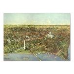 Vintage Aerial Antique City Map of Washington DC Custom Invitation