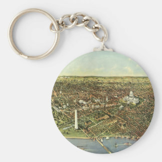Vintage Aerial Antique City Map of Washington DC Key Chain