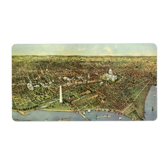 Vintage Aerial Antique City Map of Washington DC Label