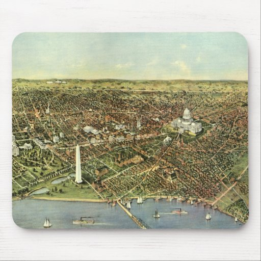 Vintage Aerial Antique City Map of Washington DC Mouse Pad