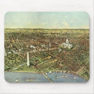 Vintage Aerial Antique City Map of Washington DC Mousepads