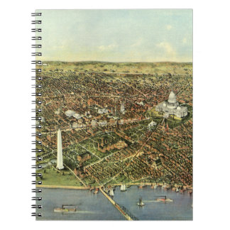 Vintage Aerial Antique City Map of Washington DC Spiral Note Books