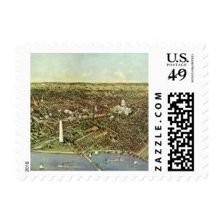 Vintage Aerial Antique City Map of Washington DC Stamp