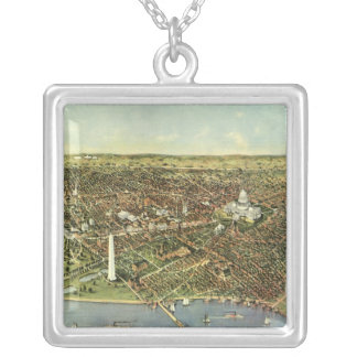 Vintage Aerial Antique City Map of Washington DC Silver Plated Necklace