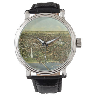 Vintage Aerial Antique City Map of Washington DC Wrist Watch
