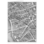 Vintage Aerial Paris Map Stationery Note Card