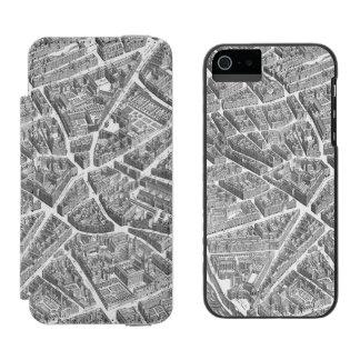 Vintage Aerial Paris Map Wallet Case For iPhone SE/5/5s