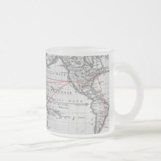 Vintage Aeronautic World Map Frosted Glass Coffee Mug