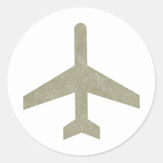 Vintage Aeroplane Round Stickers