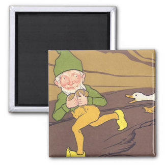 Vintage Aesop Fable Goose that Laid the Golden Egg 2 Inch Square Magnet