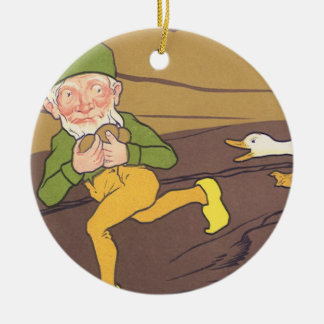 Vintage Aesop Fable Goose that Laid the Golden Egg Ceramic Ornament