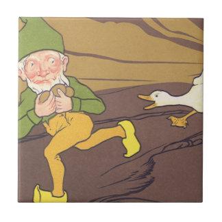 Vintage Aesop Fable Goose that Laid the Golden Egg Ceramic Tile