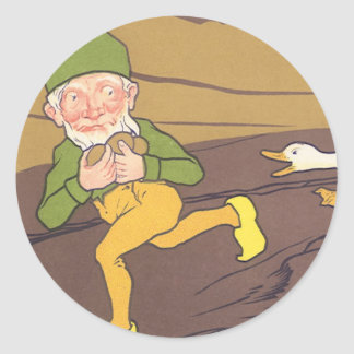 Vintage Aesop Fable Goose that Laid the Golden Egg Classic Round Sticker
