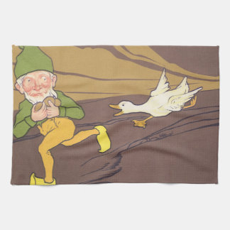 Vintage Aesop Fable Goose that Laid the Golden Egg Hand Towel