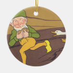 Vintage Aesop Fable Goose that Laid the Golden Egg Double-Sided Ceramic Round Christmas Ornament