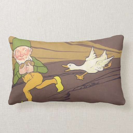 Vintage Aesop Fable Goose that Laid the Golden Egg Pillows