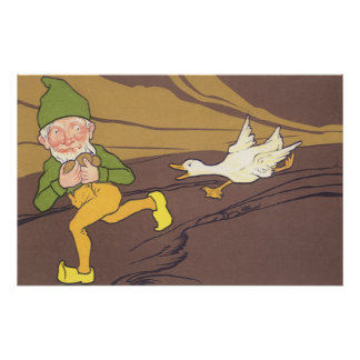 Vintage Aesop Fable Goose that Laid the Golden Egg Poster