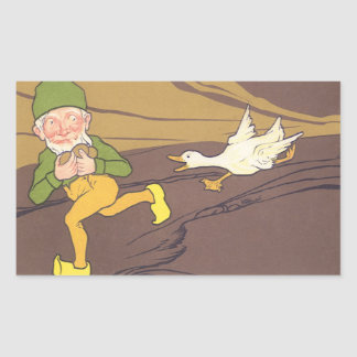 Vintage Aesop Fable Goose that Laid the Golden Egg Rectangular Sticker