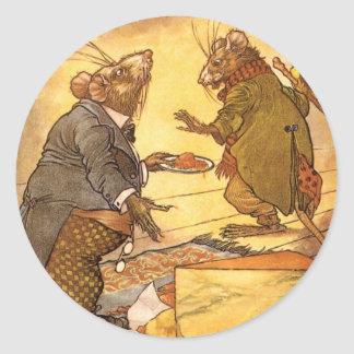 Vintage Aesop's Fable, Country Mouse, City Mouse Classic Round Sticker