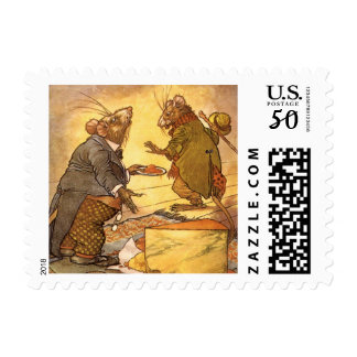 Vintage Aesop's Fable, Country Mouse, City Mouse Postage