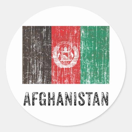 Vintage Afganistán Pegatina Redonda