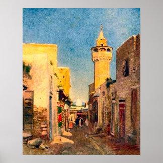 Vintage África, África del Norte, calle con el Póster