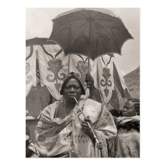 Vintage Africa, Chief, servant and sunshade Postcard