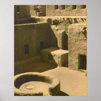 Vintage africa, Mud brick building, Algeria Poster