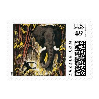 Vintage Africa Travel Poster, African Elephant Postage Stamps