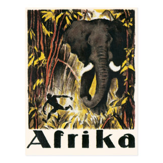 Vintage Africa Travel Poster, African Elephant Post Card
