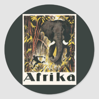 Vintage Africa Travel Poster, African Elephant Classic Round Sticker