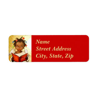 Vintage African American Angel Christmas Mailing Label