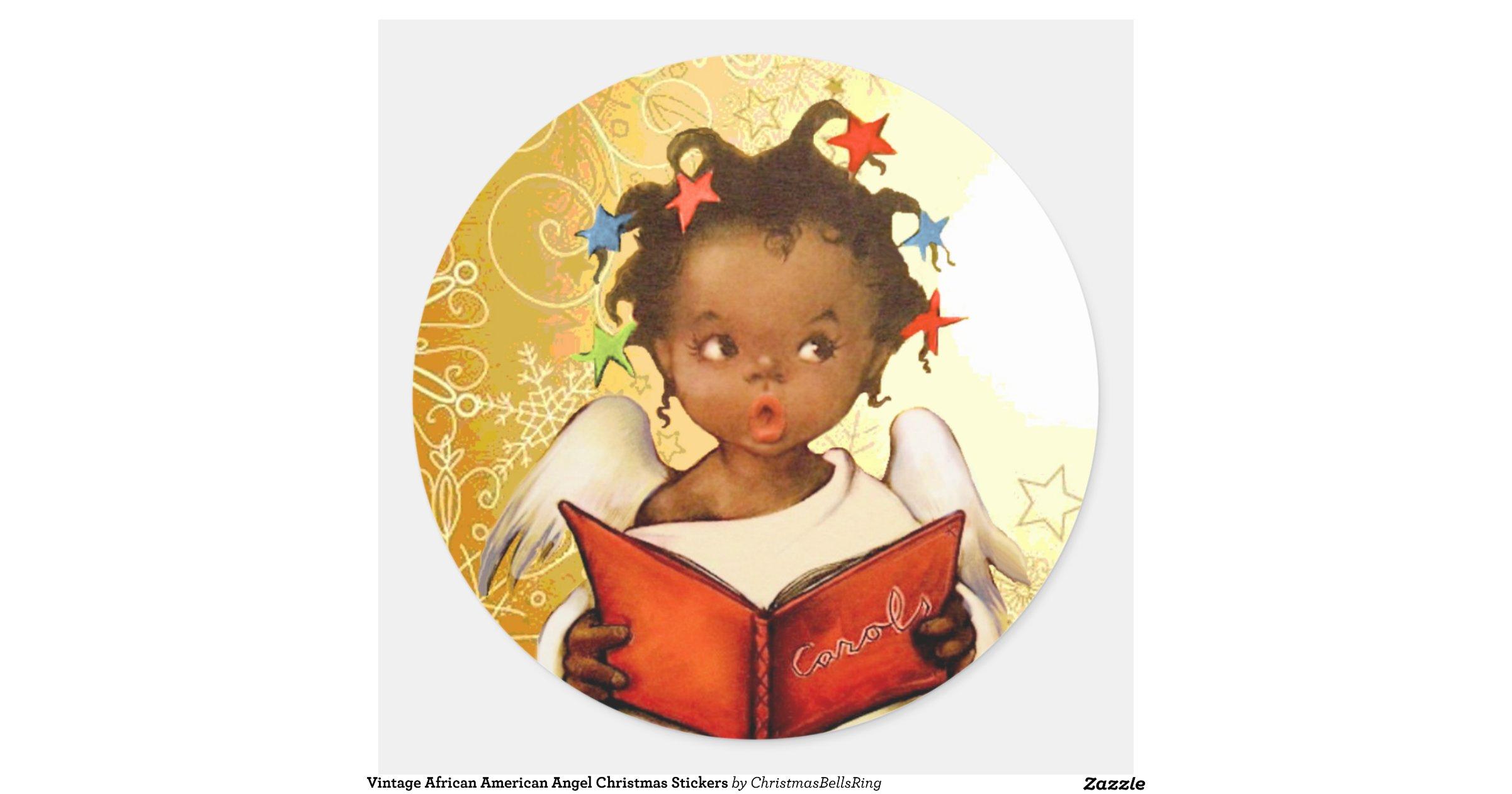 Vintageafricanamericanangelchristmasstickers