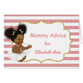 Vintage African American Baby Shower Mommy Advice Card